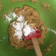 Add 1 teaspoon of baking powder and 4 tablespoons of filtered water and mix
